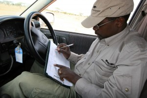 Dr. Paul Muoria taking data on Grevy's zebra behavior.