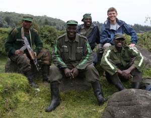 With the gorilla trackers