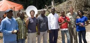 Part of the team visiting Lomako. The satellite dish is behind Jef. I'm standing to his left.