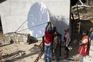 Surfing in the jungle: Installing the internet satellite dish in Lomako.