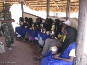 Students listen to talks from reserve management about the value of wildlife conservation. They also learnt about the plight of Grevy's zebra from the Grevy's zebra project staff.