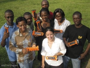 The team shows off the donated solar BoGo Lights.