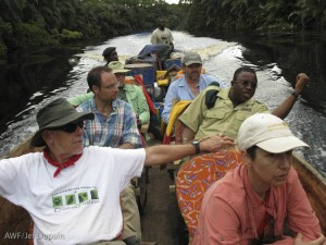 Our guests en route to the Lomako Conservation Science Centre.