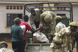 KWS rangers weigh the ivory, totalling 1,550 lbs.