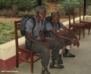 Papa Bosco (right) with his deputy papa Mange during the recent AWF-led expedition to the reserve.